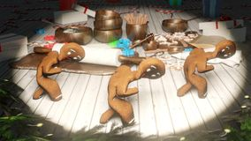 Gingerbread men dancing in the middle of a festive Christmas table. The concept of the celebration. Looped Animation.