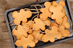 Gingerbread Men On Dark Background Stock Photography