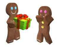 Gingerbread men gift. 3D rendering of gingerbread man giving a present to a friend Royalty Free Stock Photography