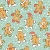 Gingerbread men pattern Royalty Free Stock Photo