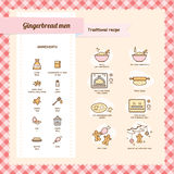 Gingerbread men recipe vector illustration