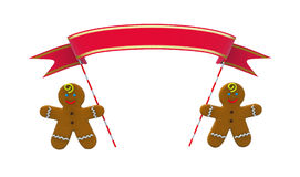 Gingerbread Men with Ribbon. Prepared for inscription. 3D illustration isolated on white background closeup Stock Photography