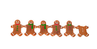 Gingerbread men in a row Royalty Free Stock Photos