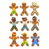 Gingerbread men wearing different costumes set, funny Christmas characters ector Illustration on a white background. Gingerbread men wearing different costumes Stock Photos
