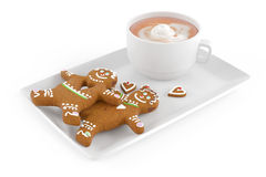 Gingerbread mens cakes with coffee latte Royalty Free Stock Photo