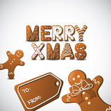 Gingerbread Merry xmas cookies with tag Royalty Free Stock Photos