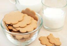 Gingerbread and milk Stock Photos