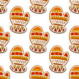 Gingerbread mitten seamless pattern Stock Photos