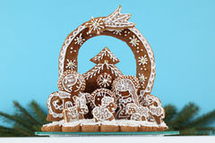 Gingerbread nativity scene Royalty Free Stock Images
