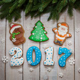 Gingerbread New Year 2017 and Christmas, Gingerbread Santa Claus stock photos