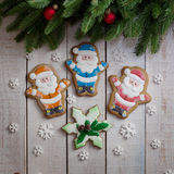 Gingerbread New Year and Christmas, Gingerbread Santa Claus royalty free stock photos