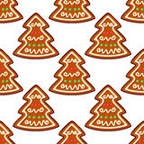 Gingerbread new year tree seamless Stock Photo