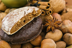 Gingerbread and nuts. As closeup Christmas decoration Stock Photo