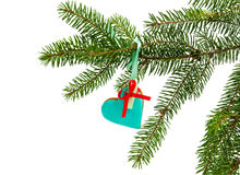 Gingerbread ornaments hanging on a fir branch Royalty Free Stock Photo
