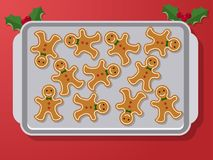 Gingerbread on oven pan. Set of vector icons of Christmas ginger bread cookies on oven-tray. Gingerbread men baked by hand. Festive baking for winter holidays Stock Photography