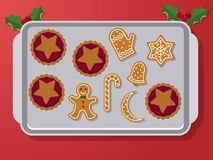 Gingerbread on oven pan. Set of vector icons of Christmas ginger bread cookies on oven-tray. Gingerbread men and star, bell, cane and other holiday symbols Royalty Free Stock Photos