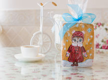 Gingerbread owl new year Stock Image