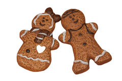 Gingerbread pair. As a isolated shot Royalty Free Stock Photo