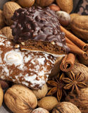 Gingerbread pastry, nuts and spices Stock Photography