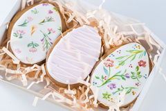Gingerbread with a pattern in the form of Easter eggs Stock Photo