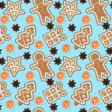 Gingerbread pattern man snowflake christmas tree gift orange cinnamon on blue background seamless vector. Gingerbread pattern man snowflake christmas tree gift vector illustration