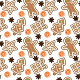Gingerbread pattern man snowflake christmas tree gift orange cinnamon seamless vector.  stock illustration