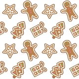 Gingerbread pattern man snowflake christmas tree gift seamless v. Gingerbread pattern man snowflake christmas tree gift seamless royalty free illustration