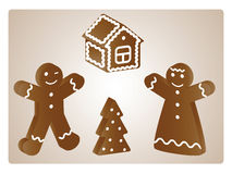 Gingerbread People. Gingerbread boy and girl.  Christmas  vector illustration Stock Photography