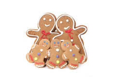 Gingerbread People With Mom, Dad and 3 Children Royalty Free Stock Photos
