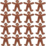 Gingerbread people in rows Royalty Free Stock Image