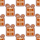 Gingerbread presents seamless Royalty Free Stock Image