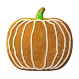 Gingerbread pumpkin decorated colored icing Stock Photos