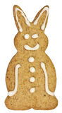 Gingerbread rabbit with clipping path. Hare gingerbread cookie isolated on white with clipping path Royalty Free Stock Image