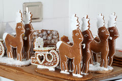 Gingerbread reindeers in an old bakery Royalty Free Stock Images