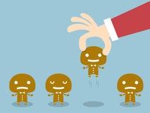 Gingerbread. Santa Claus choosing worker from group of gingerbread chosen one Gingerbread stock illustration