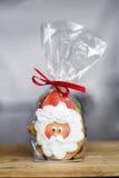 Gingerbread Santa Claus .Gift wrapping Stock Photos