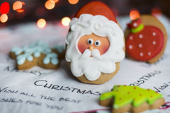 Gingerbread Santa Claus ,green pine tree and blue star Stock Images