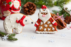 Gingerbread Santa Claus and polar bear Stock Photos