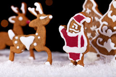 Gingerbread santa with deers Stock Image