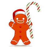 Gingerbread Santa holding Candy Cane Stock Photo