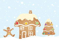 Gingerbread scene. An illustration of a festive gingerbread scene with house tree and man in a christmas snow shower and blue sky Royalty Free Stock Photos