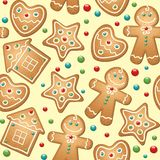 Gingerbread seamless pattern Stock Photo