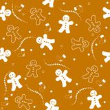Gingerbread seamless pattern christmas. Illustration of a beautiful gingerbread man on brown color background christmas seamless pattern vector illustration