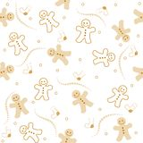 Gingerbread seamless pattern christmas. Illustration of a beautiful gingerbread man on white color background christmas seamless pattern stock illustration