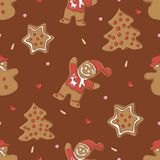 Gingerbread seamless pattern for christmas Royalty Free Stock Photography