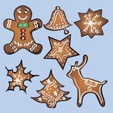 Gingerbread set with blue background. Vector Royalty Free Stock Photo