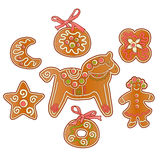 Gingerbread set. Set of gingerbread cookies with icing, isolated on white background royalty free illustration