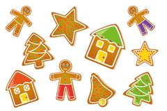 Gingerbread set star house man christmas tree bell vector illustration
