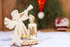 Gingerbread in shape of angel Stock Photos
