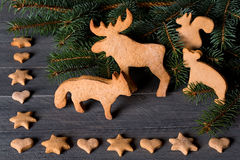 Gingerbread in the shape of animals, stars and hearts. In the background of twigs Christmas trees. Stock Photos